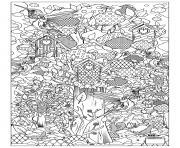 adulte animaux oiseaux cabane dessin à colorier