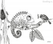 Coloriage animaux adulte vegetation multicouleur