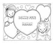carte image fete des meres enfant dessin à colorier