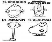 Coloriage monsieur madame grognon grincheux grand glouton