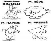 monsieur rigolo reve rapide presse dessin à colorier