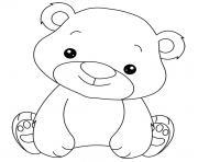 animaux mignon de bebe ourson dessin à colorier