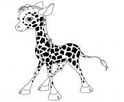 animaux mignon bebe girafe debout dessin à colorier