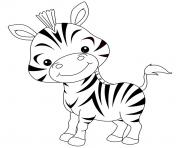 animaux mignon de bebe zebre rigolo dessin à colorier