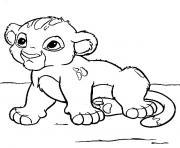 animaux mignon bebe lion dessin à colorier