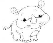 animaux mignon de bebe rhinoceros dessin à colorier