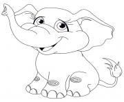 animaux mignon elephanteau bebe elephant dessin à colorier