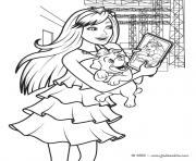 Coloriage barbie pop star avec son iphone