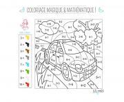 magique et mathematique la voiture dessin à colorier