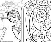 barbie alexa ouvre la porte secrete dessin à colorier