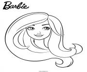 Coloriage barbie en portrait facile fille