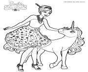 barbie et la porte secrete alexa et le bebe licorne dessin à colorier