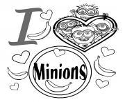 i love les minions dessin à colorier
