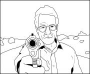 walter white breaking bad shoot gun dessin à colorier