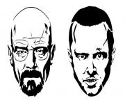 jesse and white from the breaking bad dessin à colorier