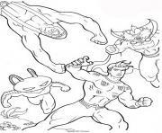 aquaman en combat dessin à colorier