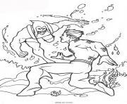 aquaman dans la mer dccomics dessin à colorier