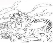 aquaman retrouve son ennemi dessin à colorier