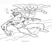aquaman se fait poursuivre par un mechant dessin à colorier