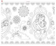 Coloriage mandala zentagle adulte disney elena avalor