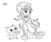 Coloriage shimmer et shine Princess Samira and Nazboo the Dragon