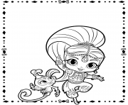Coloriage Shimmer and Pet shimmer et shine
