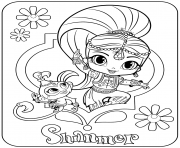 Sweet Genie Shimmer and Pet Monkey dessin à colorier