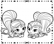 Coloriage Colour in your own shimmer et shine Scene dessin