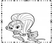Coloriage Shine and Tiger from shimmer et shine