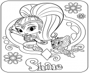 Sweet Genie Shine and Pet Tiger dessin à colorier