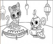 Coloriage shimmer et shine Tiger and Monkey