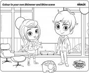 Colour in your own shimmer et shine Scene dessin à colorier