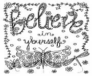 Coloriage adulte believe in yourself par deborah muller dessin