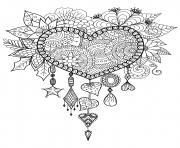 adulte attrape reve coeur mandala zen dessin à colorier