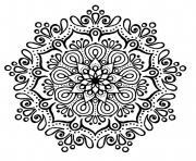 cute mandala sans couleur noir et blanc dessin à colorier