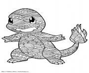 Coloriage mandala pokemon charmander salameche