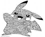 mandala pokemon pikachu dessin à colorier