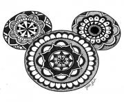 mandala disney mickey mouse dessin à colorier