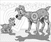 mandala disney le bestiaire dessin à colorier