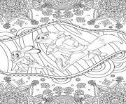 mandala disney zootopie Judy Hopps et Nick Wilde de Zootopie dessin à colorier