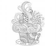 Coloriage cup hot coffee zentangle design adulte