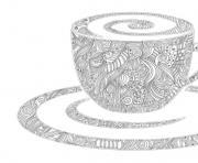 Coloriage dessin tasse a cafe humour avec un chat dessin