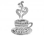Coloriage cup hot coffee zentangle design adulte dessin