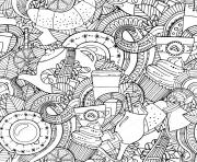 Coloriage mandala cafe the stock illustration coffee and tea doodle background