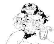 Coloriage wonder woman sexy superman kiss pour adulte dc comics dessin