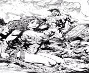 Coloriage superman and wonder woman par leomatos dc comics dessin