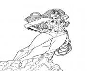 Coloriage adulte wonder woman au combat dessin