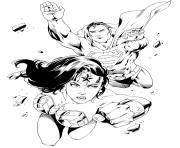 Coloriage wonder woman with superman pour adulte dc comics