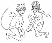 Coloriage Miraculous Tales of Ladybug chat Noir enfants