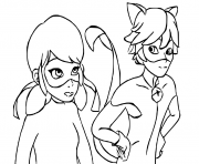 Coloriage Ladybug et chat Noir are talking